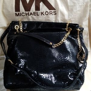 Michael Kors Large Chain Black Patent Phyton Bag